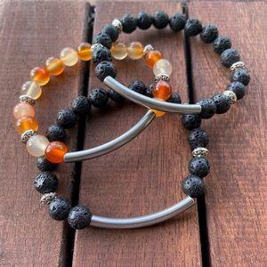 Set of 3 lava rock & carnelian bead bar bracelets